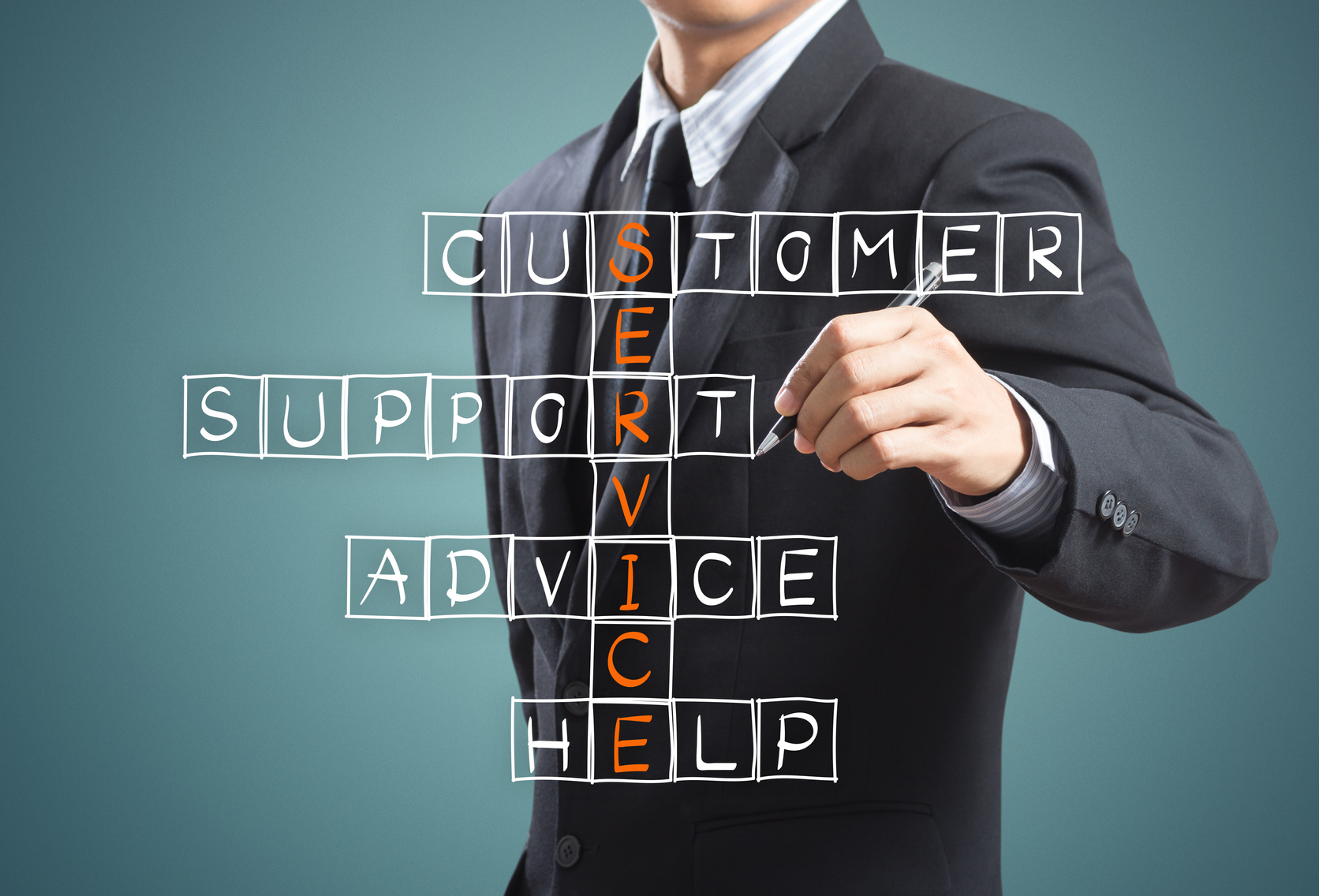 Business man writing customer service concept